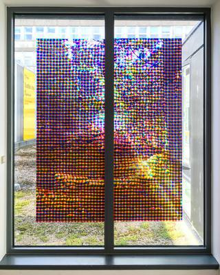 Inverfarigaig  - transparent window film on glass. Suttie Arts Space, Aberdeen Royal Infirmary
